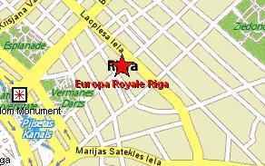 Plano de acceso de Hotel Europa Royale Riga