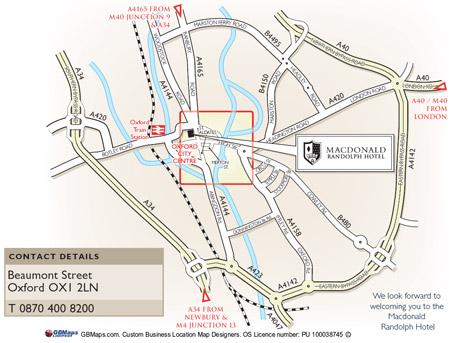 Plano de acceso de Macdonald Randolph Hotel