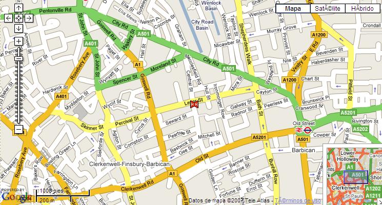 Plano de acceso de Hotel Thistle City Barbican