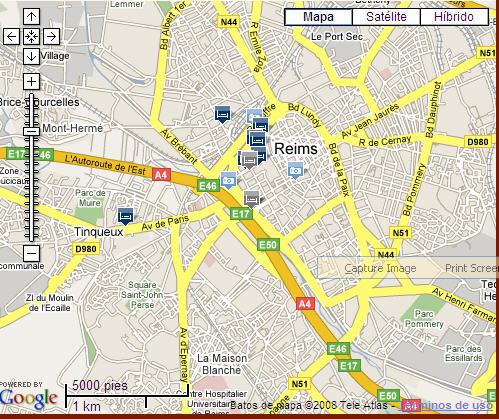 Plano de acceso de Hotel Holiday Inn Express Reims