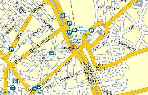 Plano de acceso de Phoenicia Hotel Toulouse
