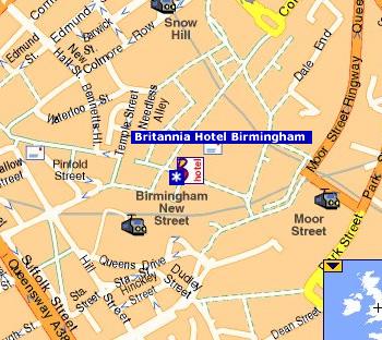 Plano de acceso de Hotel Britannia Birmingham