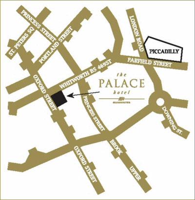 Plano de acceso de Hotel Palace Manchester