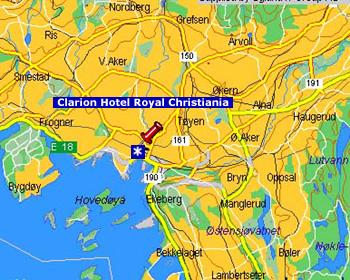 Plano de acceso de Hotel Clarion Royal Christiania