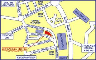 Plano de acceso de Hotel Britannia Wolverhampton