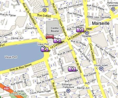 Plano de acceso de New Hotel Vieux Port