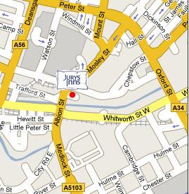 Plano de acceso de Hotel Jurys Inn Manchester