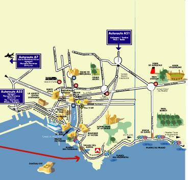 Plano de acceso de New Hotel Bompard