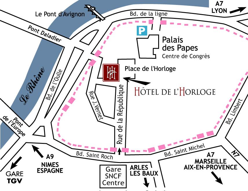 Plano de acceso de De L'horloge Hotel