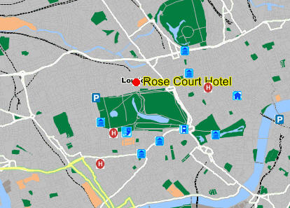 Plano de acceso de Hotel Rose Court (Paddington)