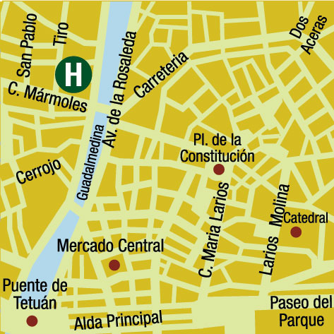 Plano de acceso de Sallés Hotel Málaga Centro