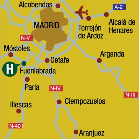 Plano de acceso de Hotel Gema Fuenlabrada