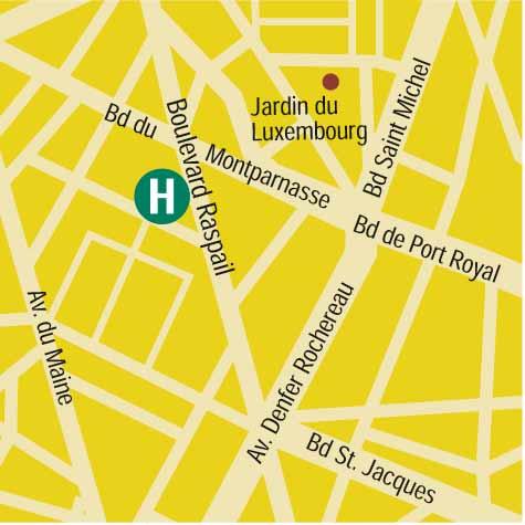 Plano de acceso de Hotel Aiglon ( 75014 )
