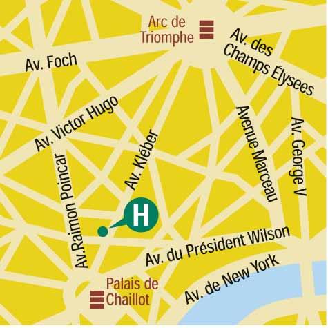 Plano de acceso de Hotel Garden Elysee (75016)