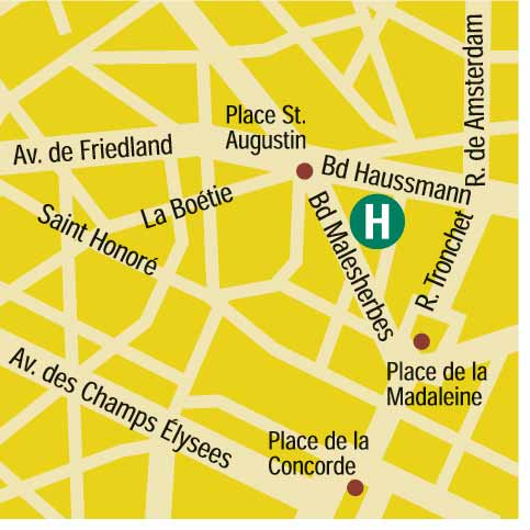Plano de acceso de Hotel Waldorf Madeleine (75008)
