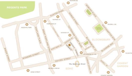 Plano de acceso de Hotel Rathbone