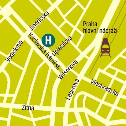 Plano de acceso de Hotel Ambassador Zlatá Husa