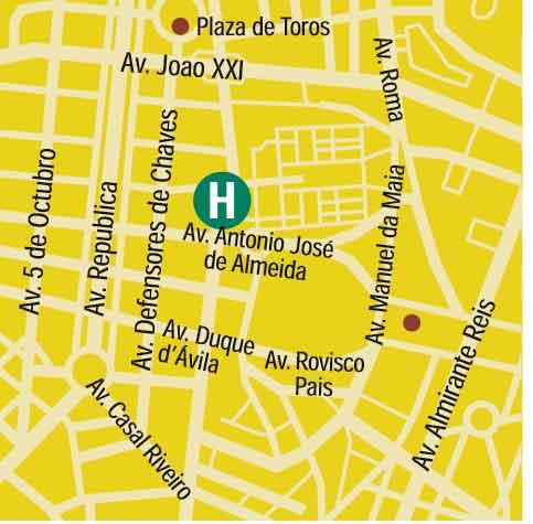 Plano de acceso de Hotel Holiday Inn Lisboa