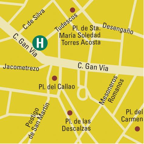 Plano de acceso de Hotel Vincci Capitol
