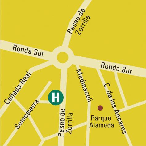 Plano de acceso de Hotel Vincci Frontaura