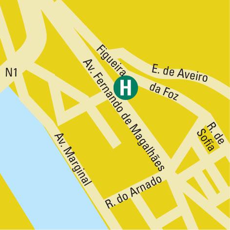 Plano de acceso de Hotel Comfort Inn  Almedina Coimbra